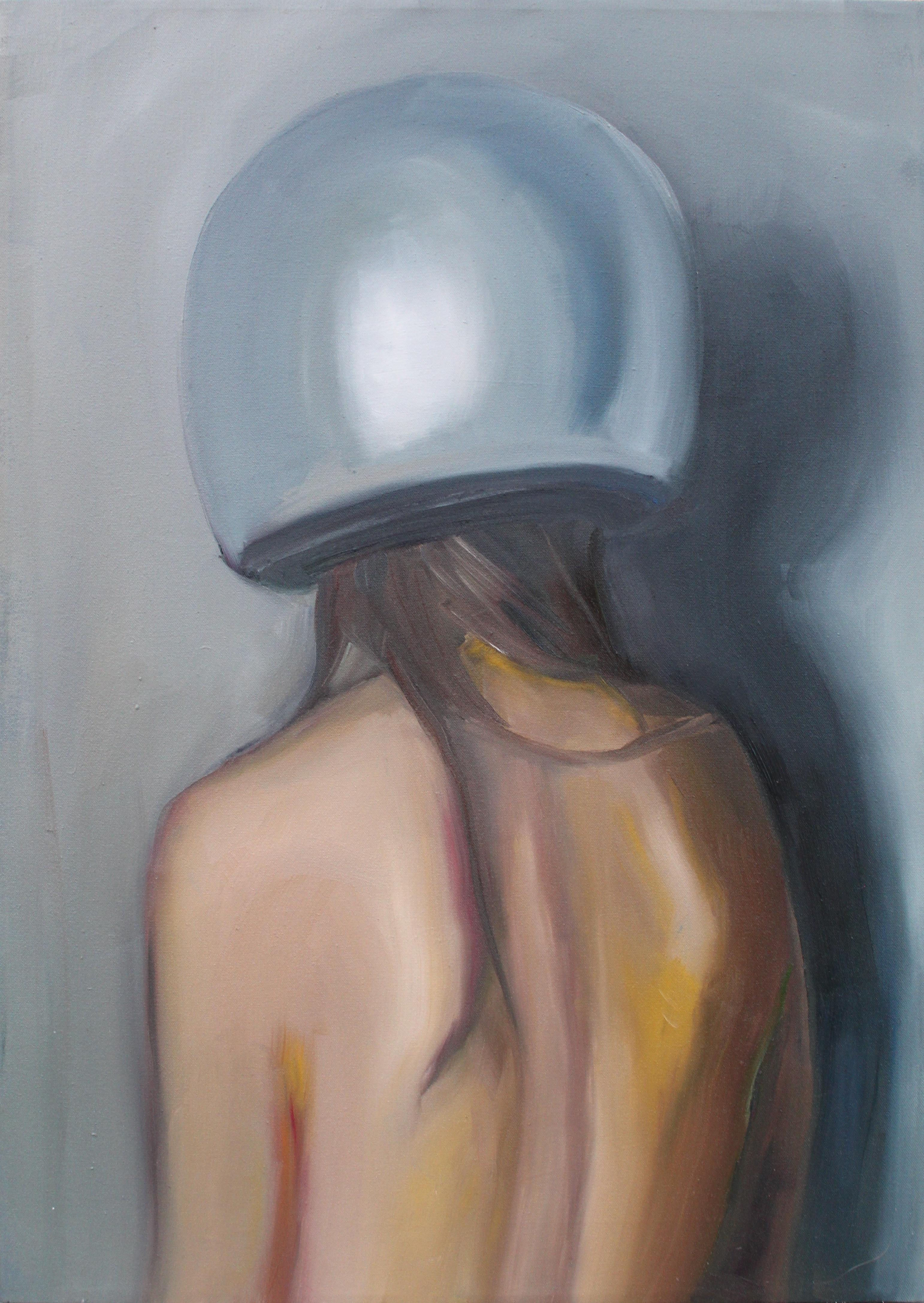 Woman in helmet, oil on canvas, 50 x 70 cm, 2017.