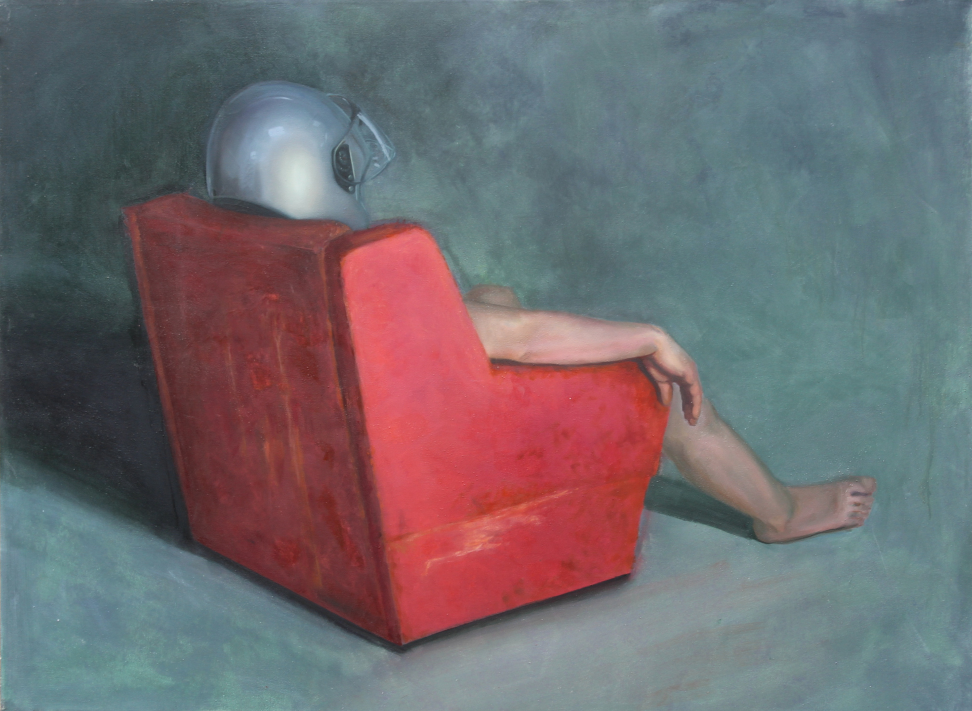 Nude in the armchair, oil on canvas, 150 × 120 cm, 2014. Adrienn Erdei