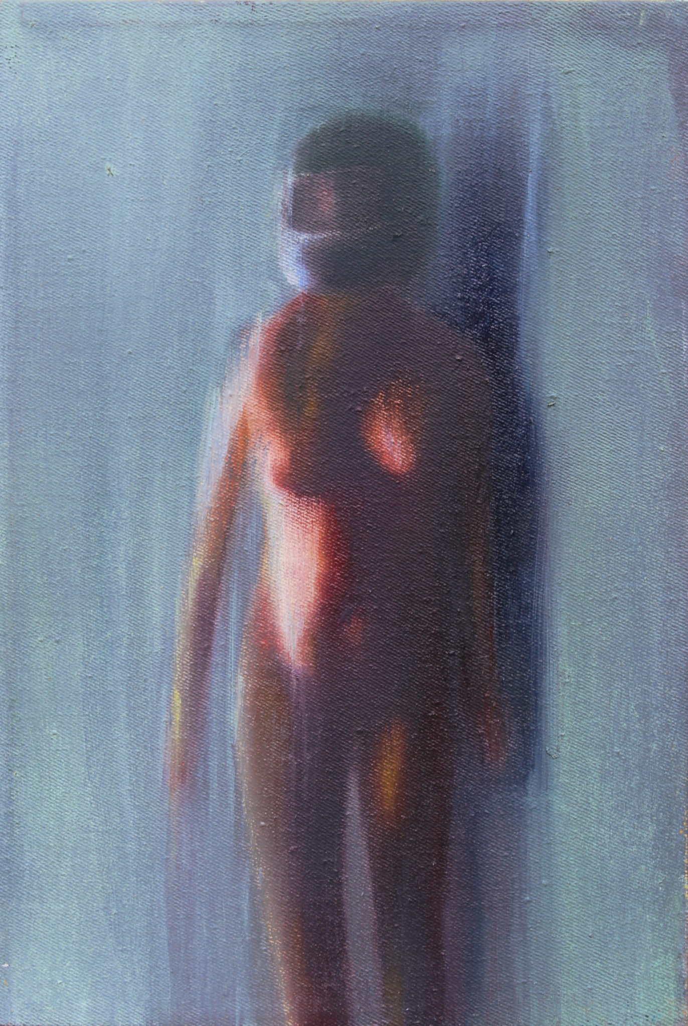 Adrienn Erdei Nude in front view, oil on canvas, 20 × 30 cm, 2015.
