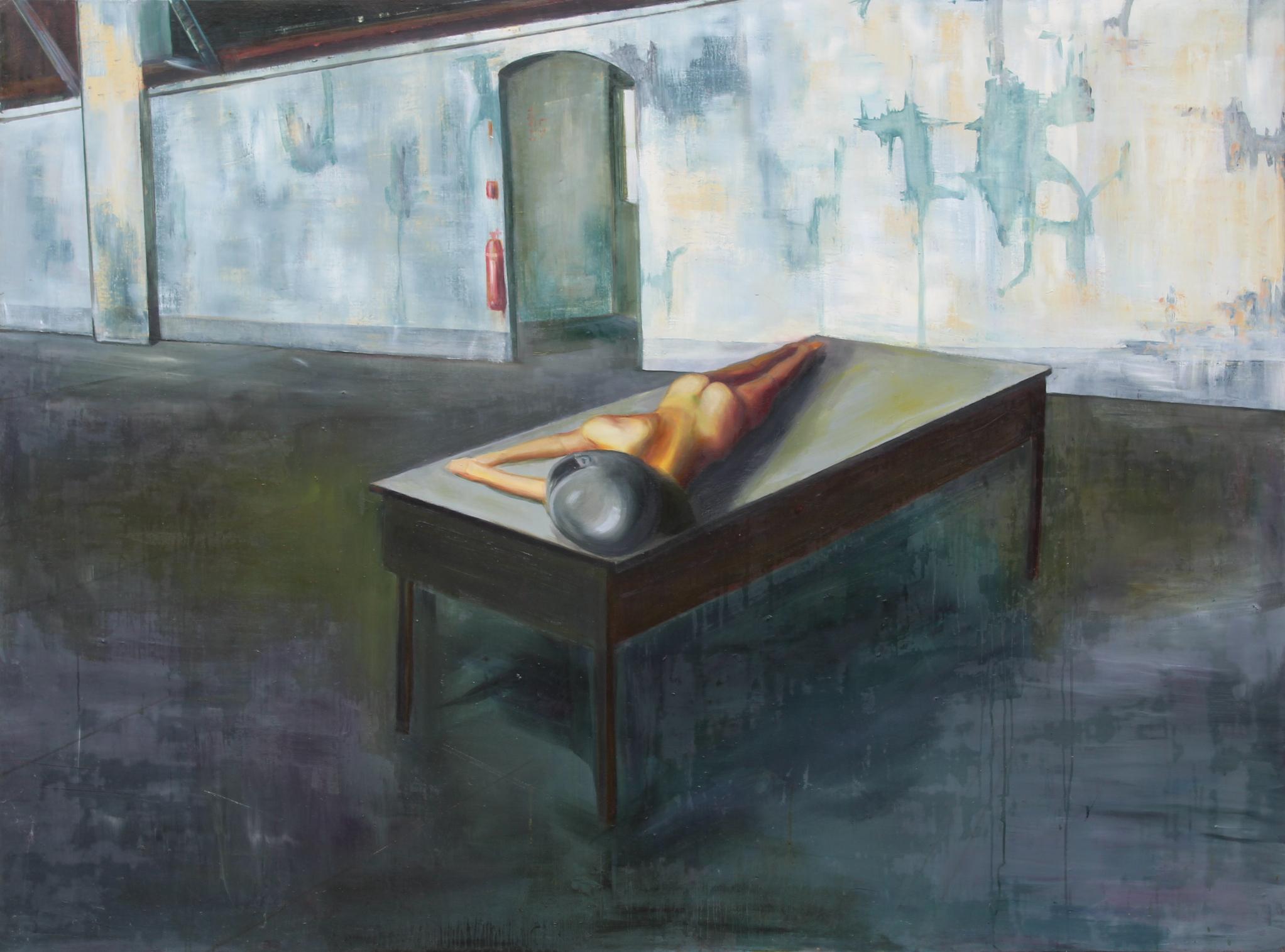 Adrienn Erdei Shortening nude, oil on canvas, 200 × 150 cm, 2016.
