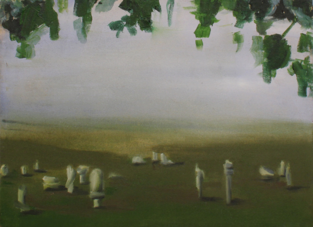 """Villány sculpture cemetery"" II, oil on canvas, 40 × 30, 2015."