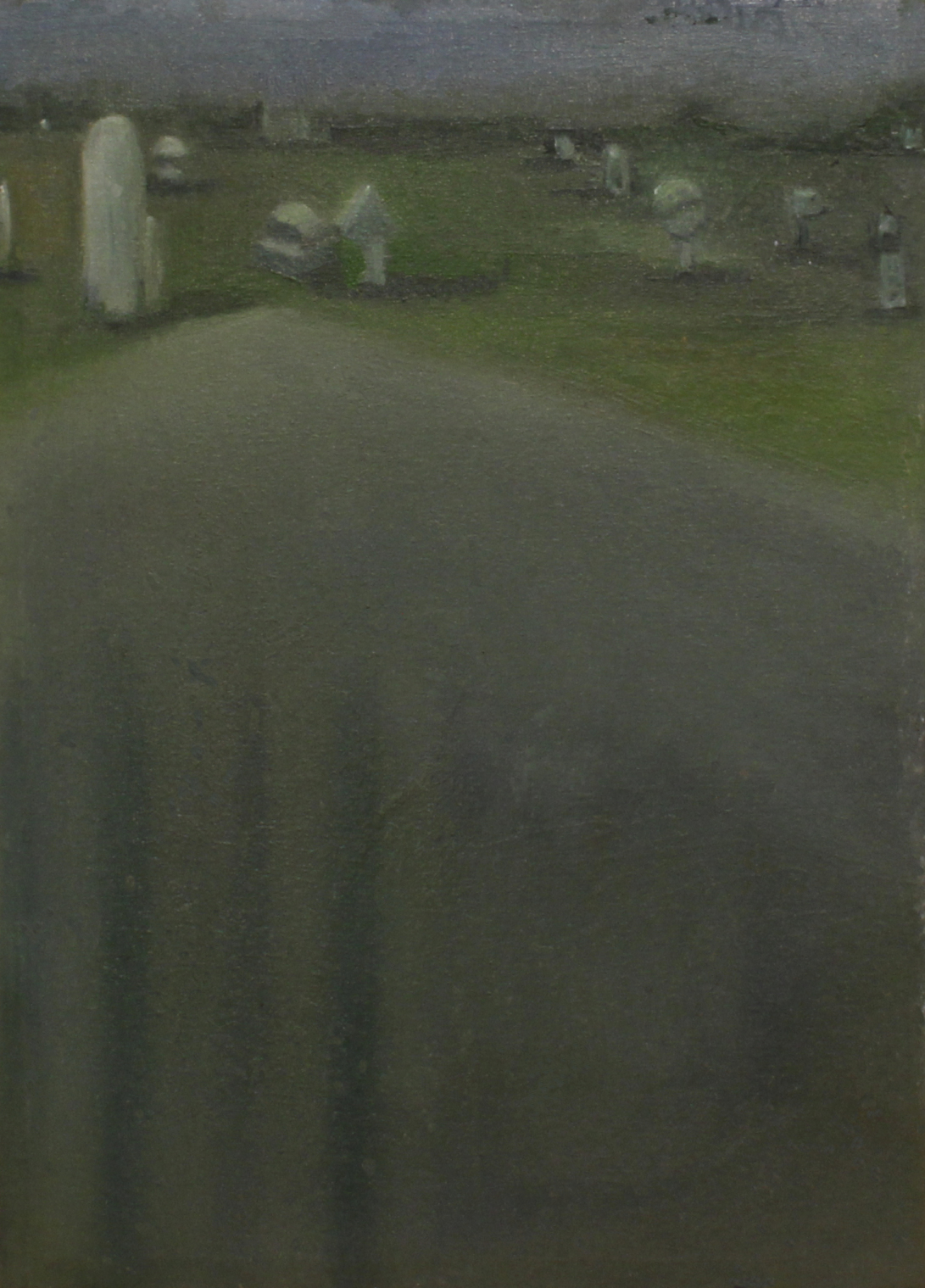 """Villány sculpture cemetery"" III, oil on canvas, 30 × 20 cm, 2015."